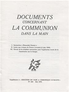 Documents concernant la Communion dans la main